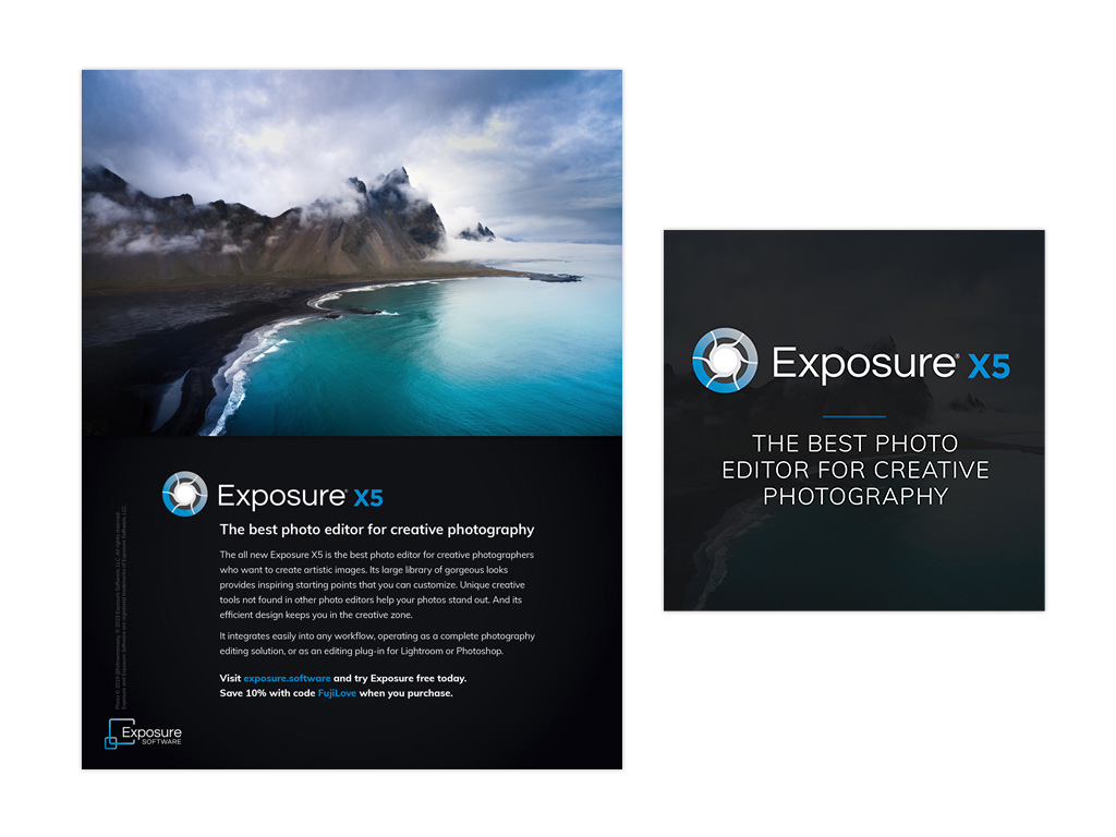 Exposure X5 print ad + product cover