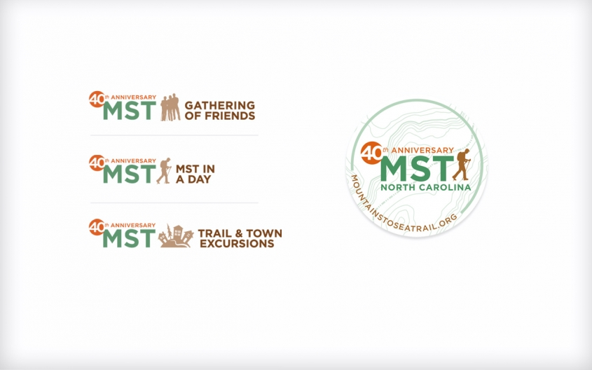 Friends of the Mountains-to-Sea Trail 40th Anniversary logos & sticker