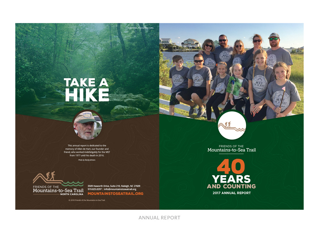 Friends of the Mountains-to-Sea Trail annual report front + back cover