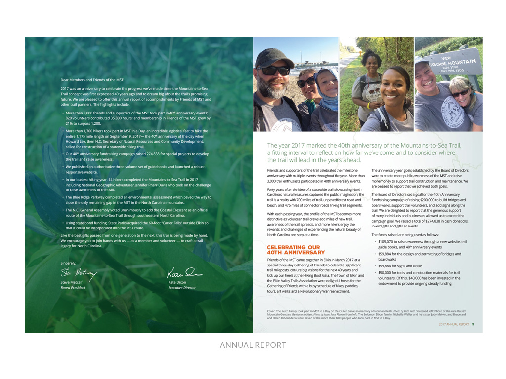 Friends of the Mountains-to-Sea Trail - pages from annual report