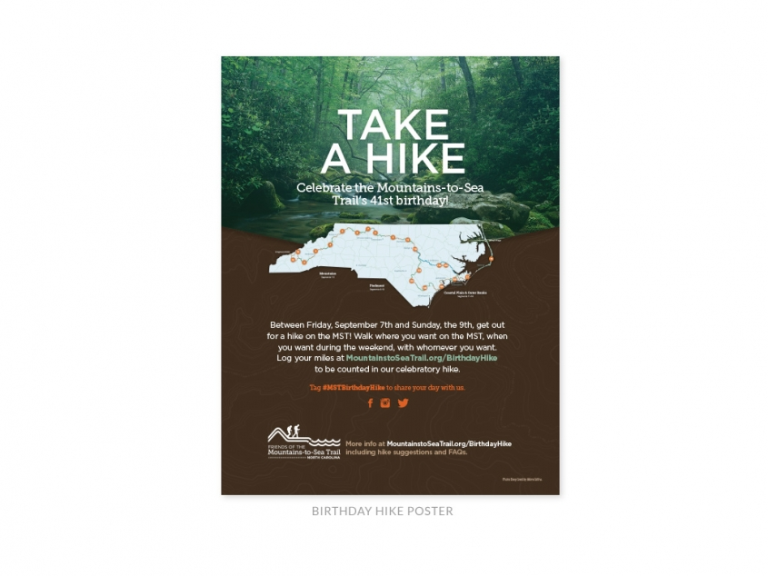 Friends of the Mountains-to-Sea Trail birthday hike poster