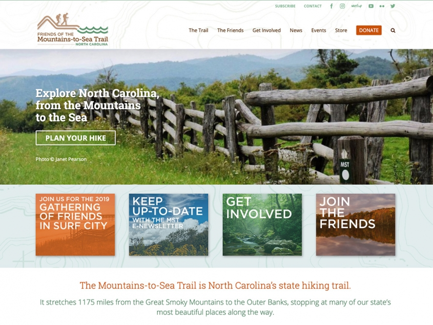 Friends of the Mountains-to-Sea Trail website homepage
