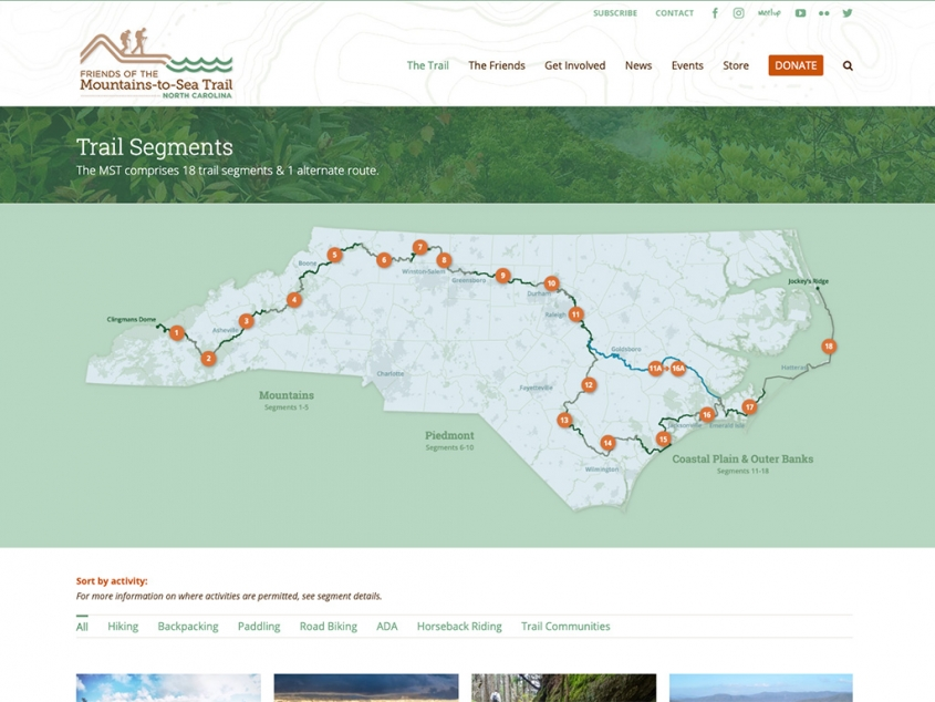 Friends of the Mountains-to-Sea Trail website segements page