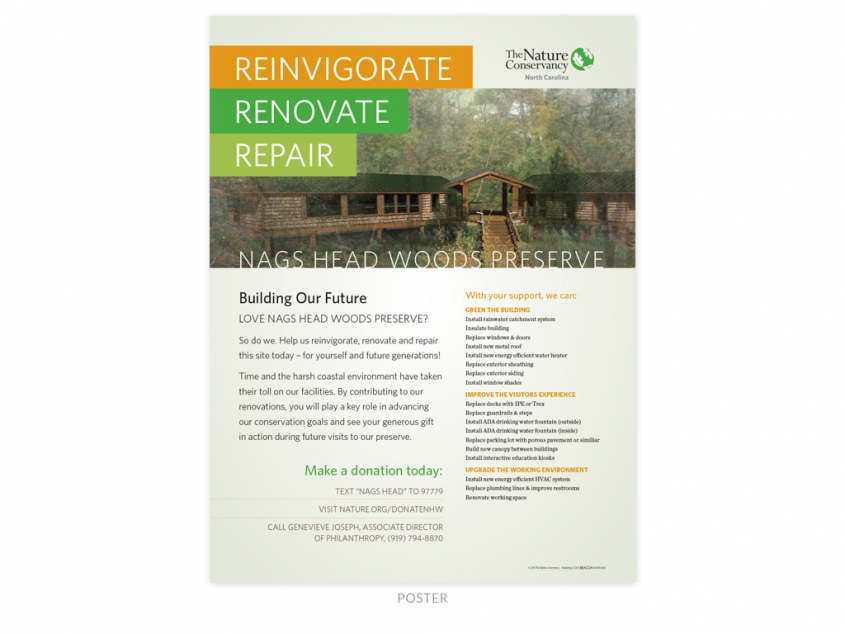 The Nature Conservancy NC Chapter Nags Head Woods Preserve renovation poster