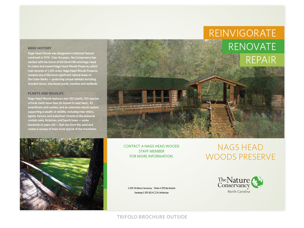 The Nature Conservancy NC Chapter Nags Head Woods Preserve renovation trifold brochure