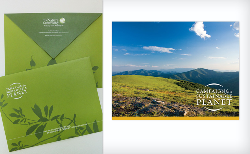 Campaign booklet for the North Carolina Chapter of the Nature Conservancy; the envelope was designed to hold the booklet, as well as other materials for potential donors.