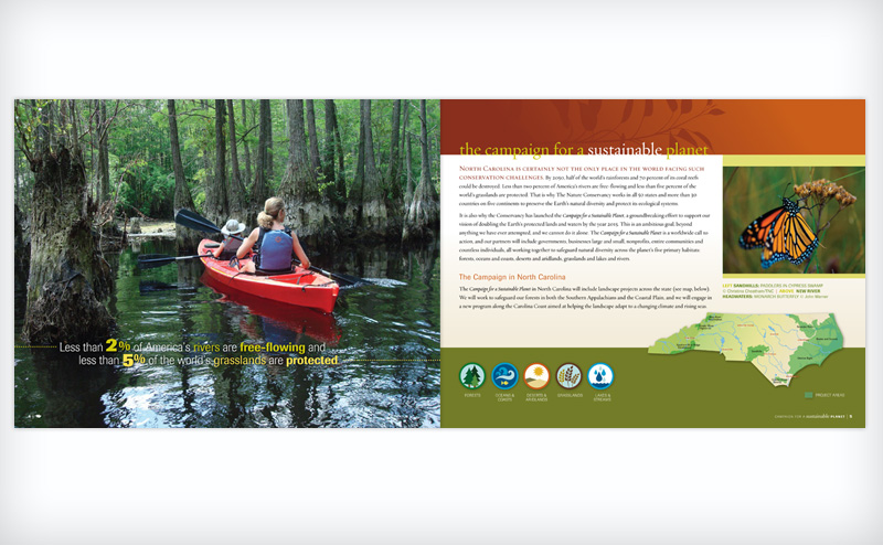 Layout from a campaign booklet for the North Carolina Chapter of the Nature Conservancy
