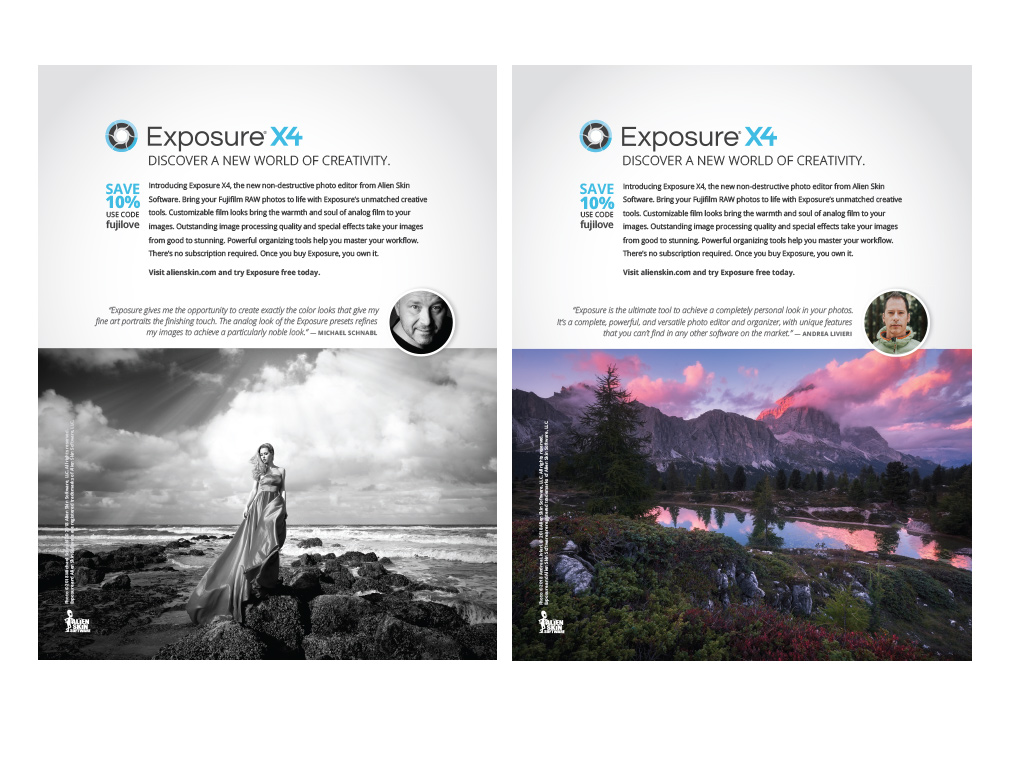 Exposure X4 print ads