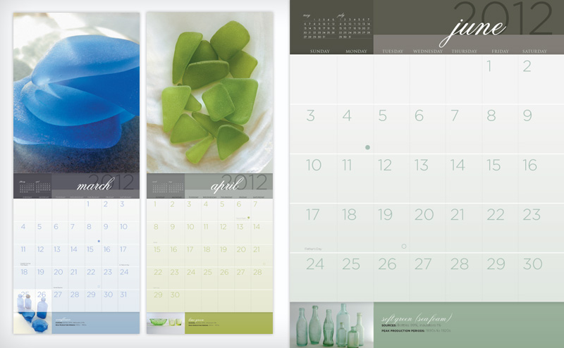 Pure Sea Glass calendars